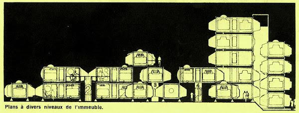 Lége-Cap-Ferret - Tétrodon - Habitat modulaire  Design: A.U.A (Atelier d'Urbaniste et d'Architecture) Jacques Berce, Enrique Ciriani, Michel Corajoud, Borja Huidobro, Georges Loiseau, Annie Tribel, Jean Tribel.  Constructeur: Groupe Barbot  Création: 1972