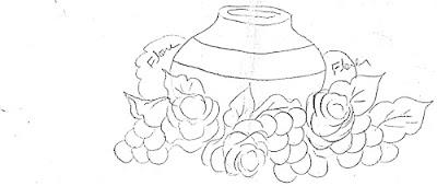"""'risco para pintar pote ,rosas e uvas, frutas"""""""