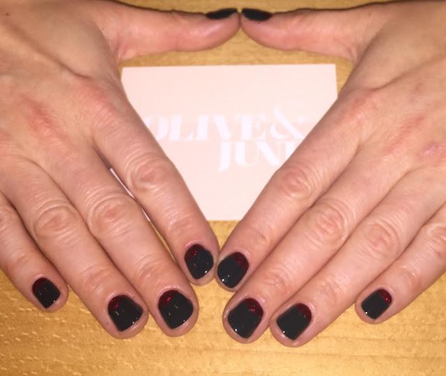 Olive & June, Beverly Hills, nail salon, RGB Tropic, Essie Leading Lady, half moon manicure, nail art, nails, nail polish, nail lacquer, nail varnish, manicure, Salon and Spa Directory