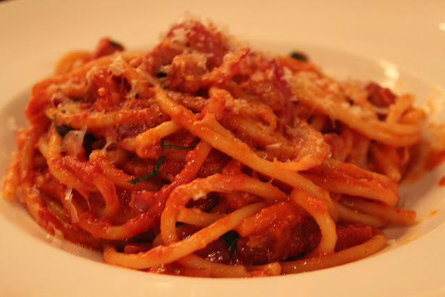 Bucatini amatriciana at Ballo at Mohegan Sun