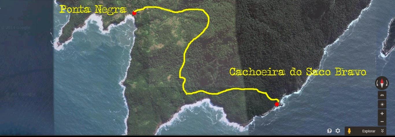 Mapa da trilha da Praia de Ponta Negra a Cachoeira do Saco Bravo