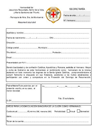 Ficha de inscripción.
