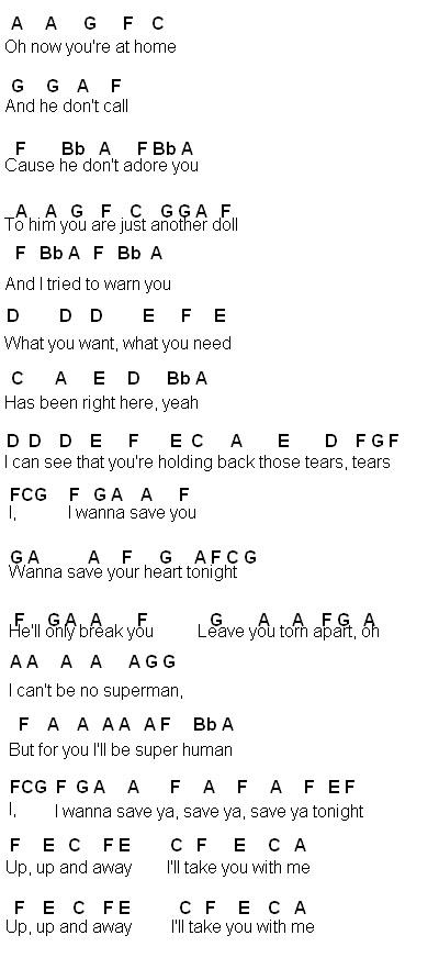 Flute Sheet Music: Save You Tonight