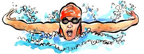 Gambar Berenang Kartun Lucu Gaya Kupu-Kupu Swim Cartoon Image