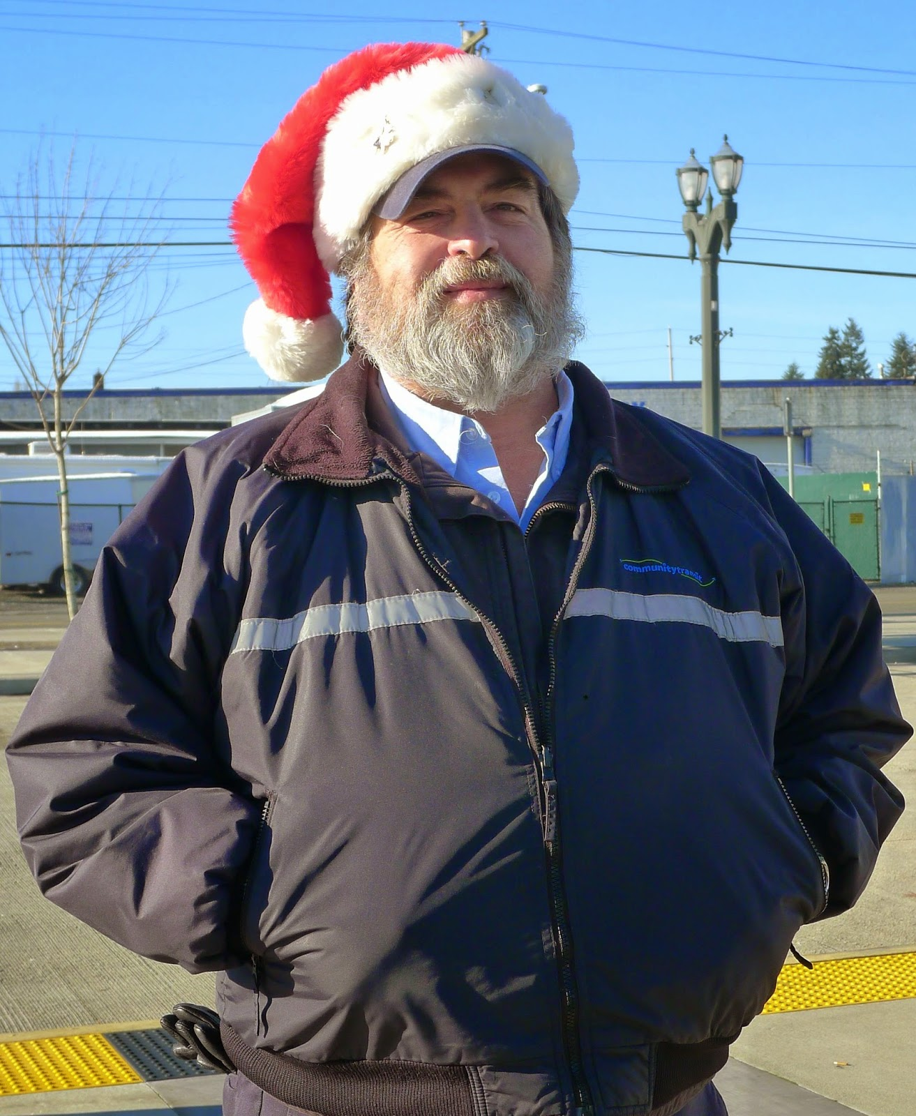Picture of Swift Coach Operator wearing Santa Hat