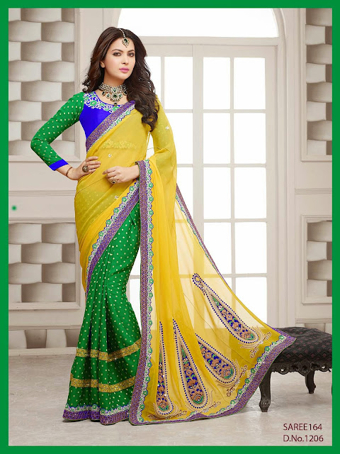 Latest Designer Wedding Saree,PatyWear Embroidered Saree,Heavy Embroidered Saree