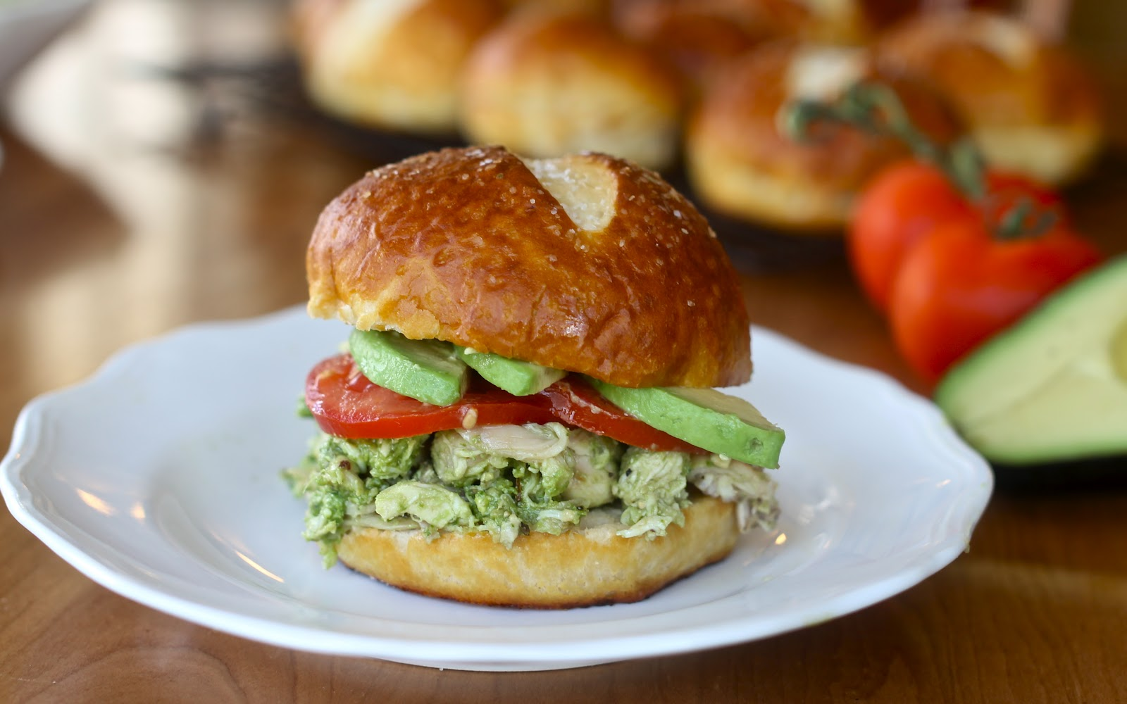 Pesto Chicken Salad On Pretzel Buns