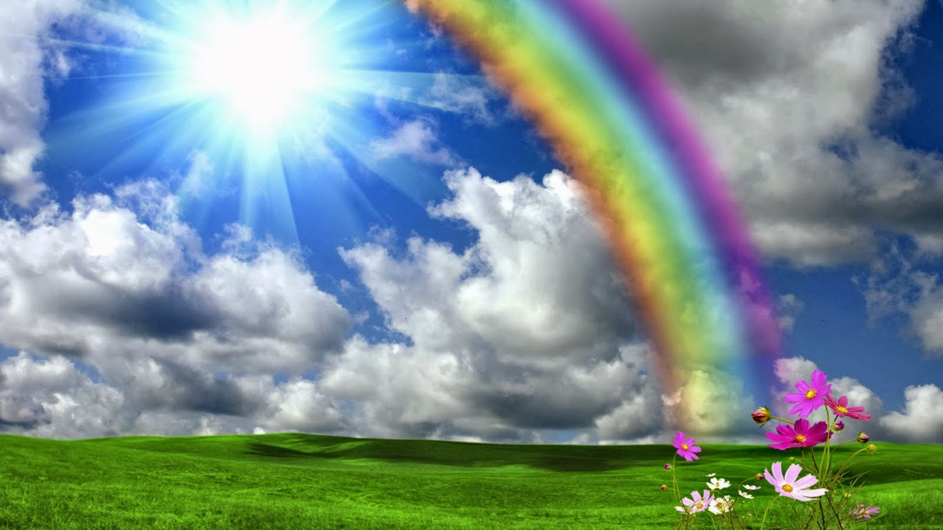 Beautiful Rainbow Shining Sun Nature Hd Wallpapers