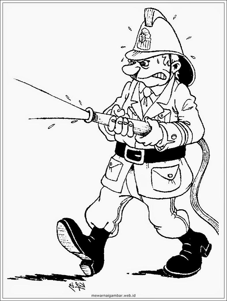 gambar mewarnai pemadam kebakaran