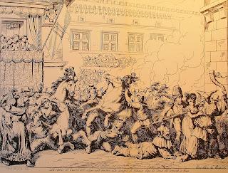 La ripresa dei cavalli barberi (B.Pinelli, 1831)