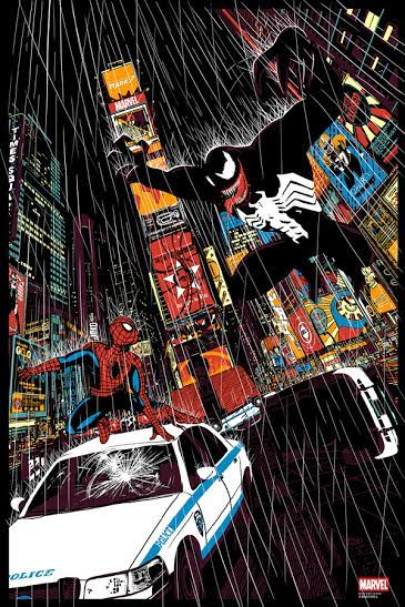 New York Comic Con 2015 Exclusive Spider-Man vs Venom Marvel Screen Print by Raid71