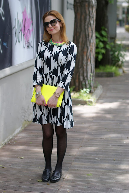 Asos black and white dress, Zara clutch, studded loafers