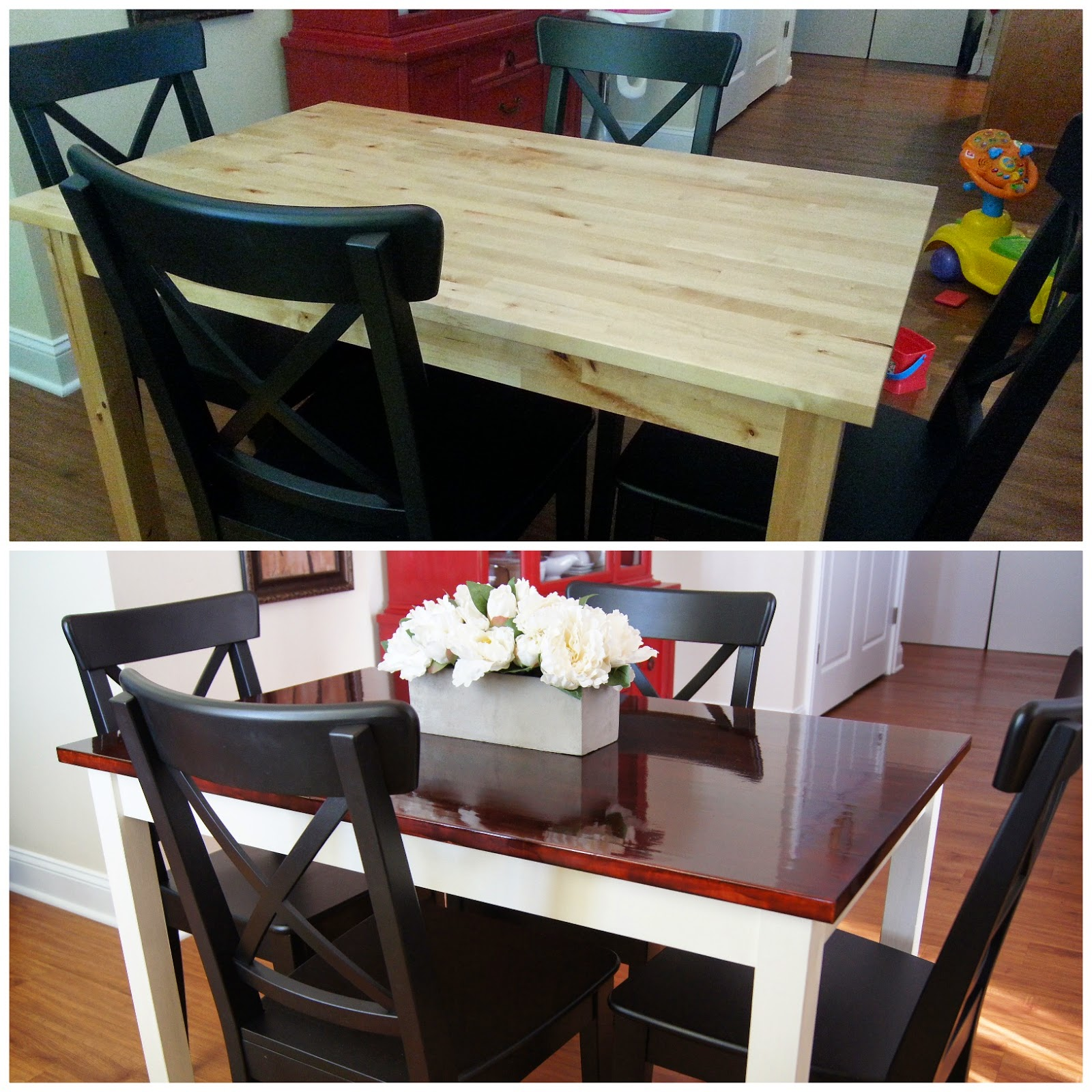 Diy dining table makeover - Table Chairs Centerpiece Can T Forget The Baby Car