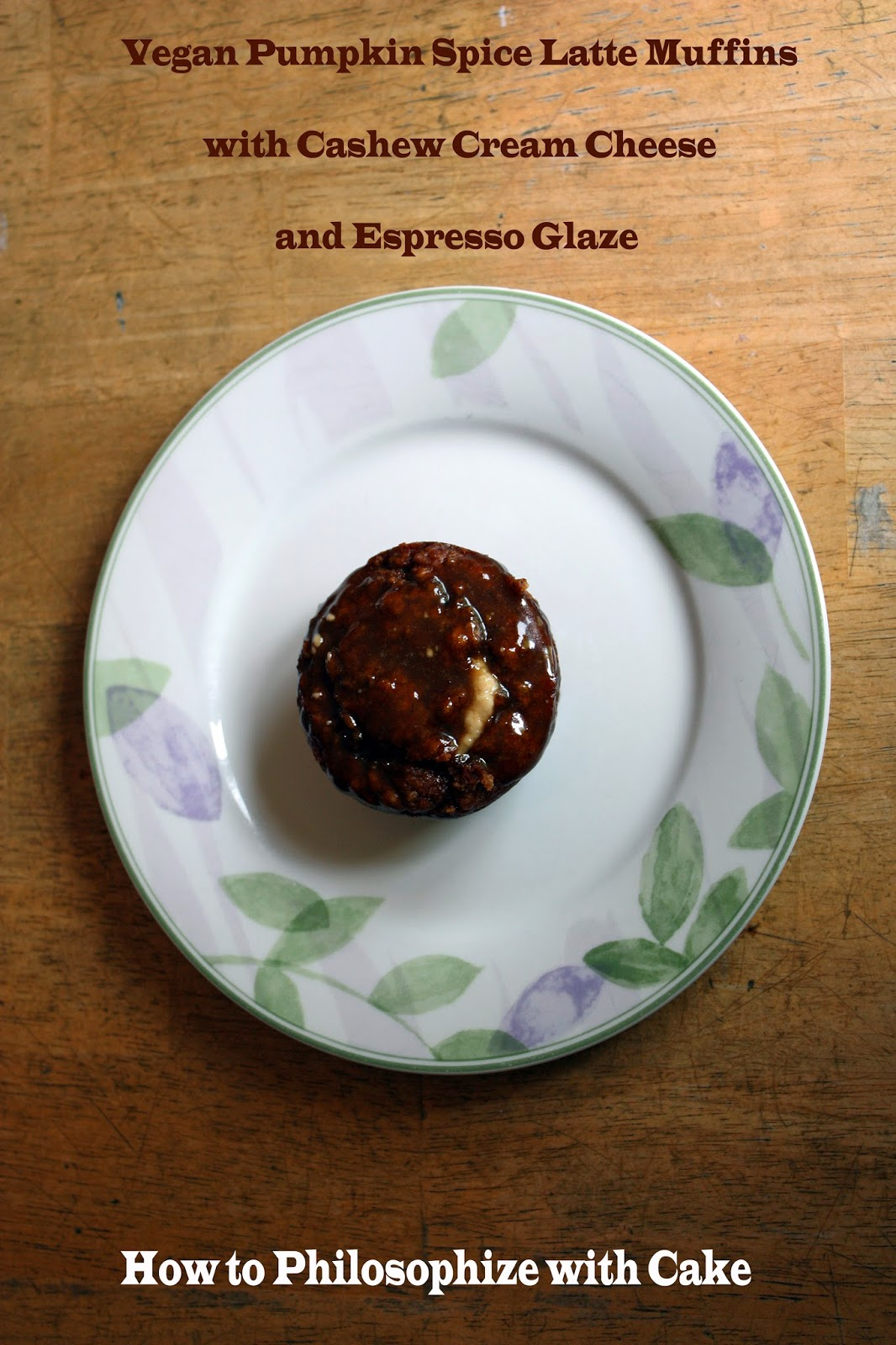 vegan pumpkin spice latte muffins with cashew cream cheese and espresso glaze - how to philosophize with cake
