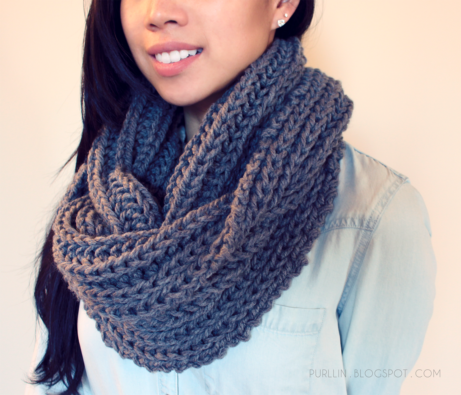 Knitting Pattern For Chunky Infinity Scarf : Purllin: Textured November Infinity Scarf Free Pattern