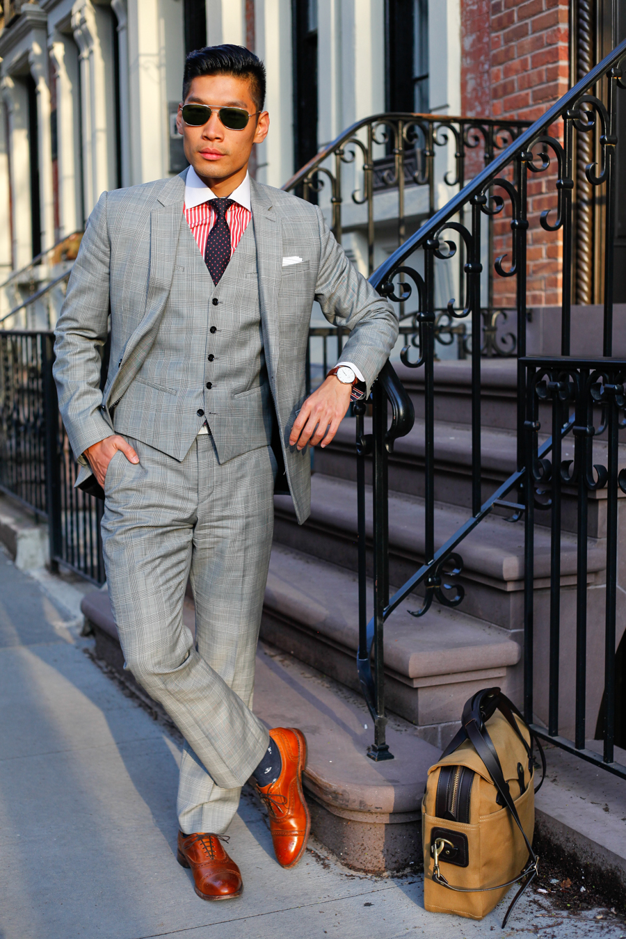 Levitate Style - American Classic, Express Three Piece Suit Two Looks |  J. J. Threads, Allen Edmonds, Filson Briefcase