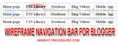 CSS3 Hover WireFrame Navigation Bar For Blogger
