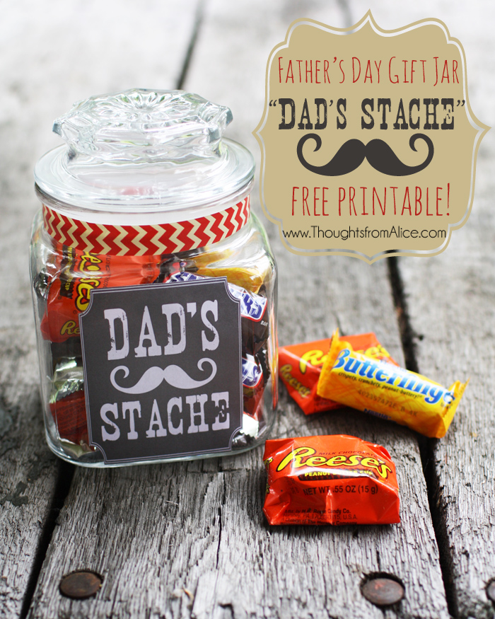 Father 39 S Day Gift Jar Dad 39 S Stache Free Printable