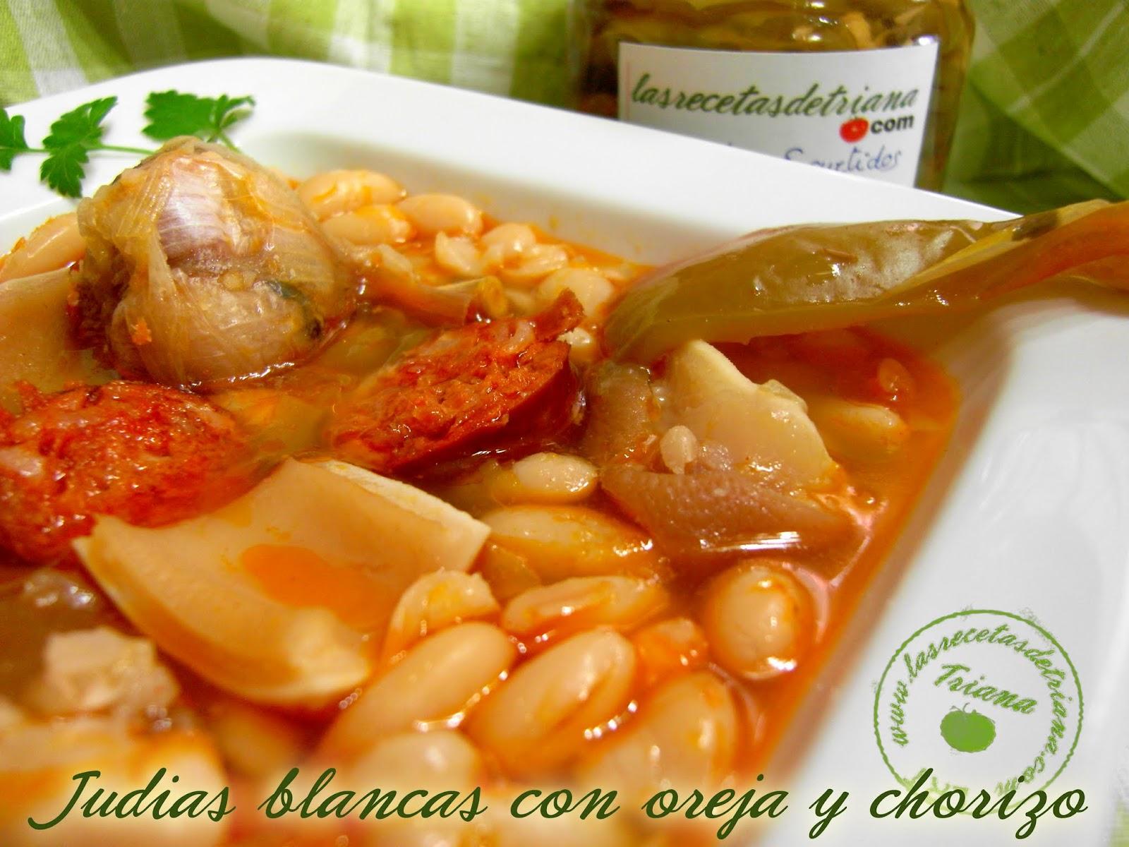 Las recetas de triana judias blancas con oreja y chorizo for Cocinar oreja de cerdo