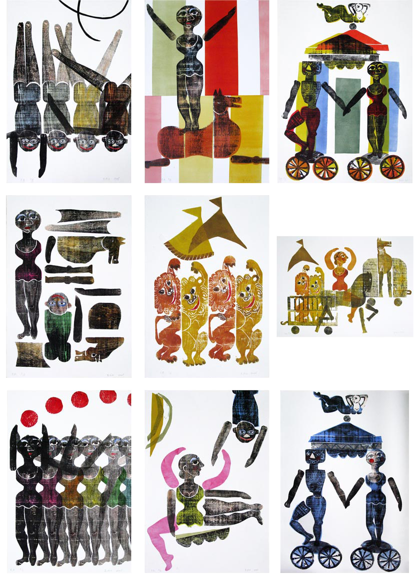 cirque - gravures sur bois - Brigitte Rio