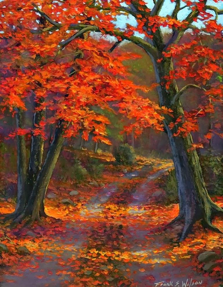 Im genes arte pinturas paisajes bosques del oto o obras for Cuadros verticales grandes