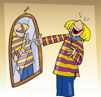 laughing in front of the mirror cartoon