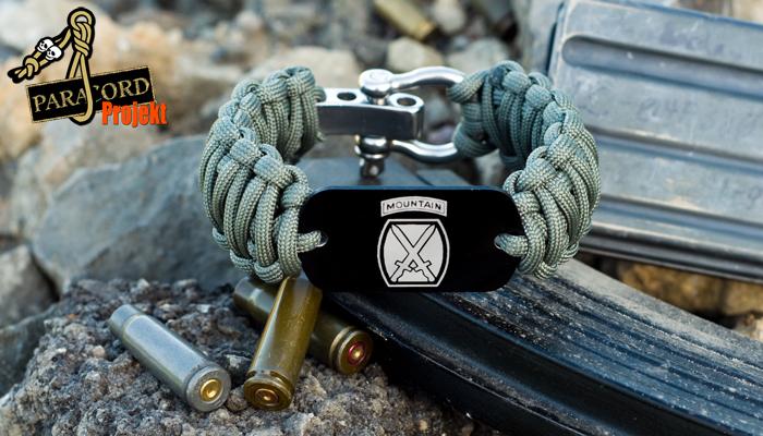 Męska survivalowa bransoleta z paracordu z nieśmiertelnikiem