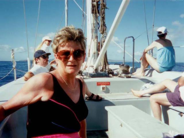my mom on America II sail boat