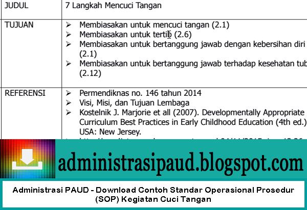 Administrasi PAUD - Download Contoh Standar Operasional Prosedur (SOP) Kegiatan Cuci Tangan
