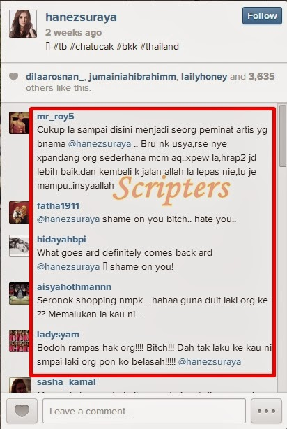 Hanez Suraya Kena Belasah Dengan Peminat Di Instagram