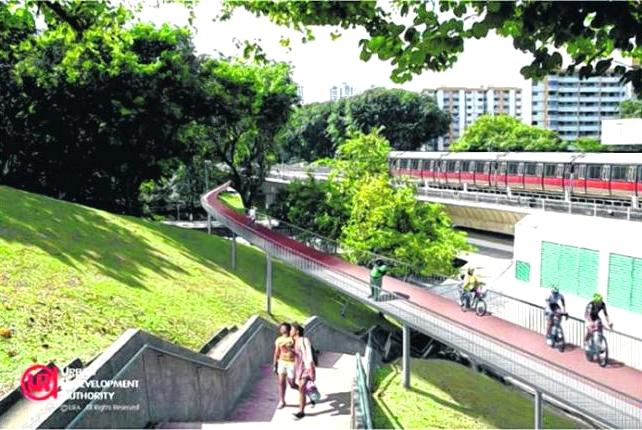 GREEN MOBILITY': An artist's impression of the elevated cycling track in Ang Mo Kio. The completed cycling network will link up with Mayflower and Lentor stations along the future Thomson line.