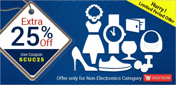 Get 25% off on all Products at shopclues except electronics
