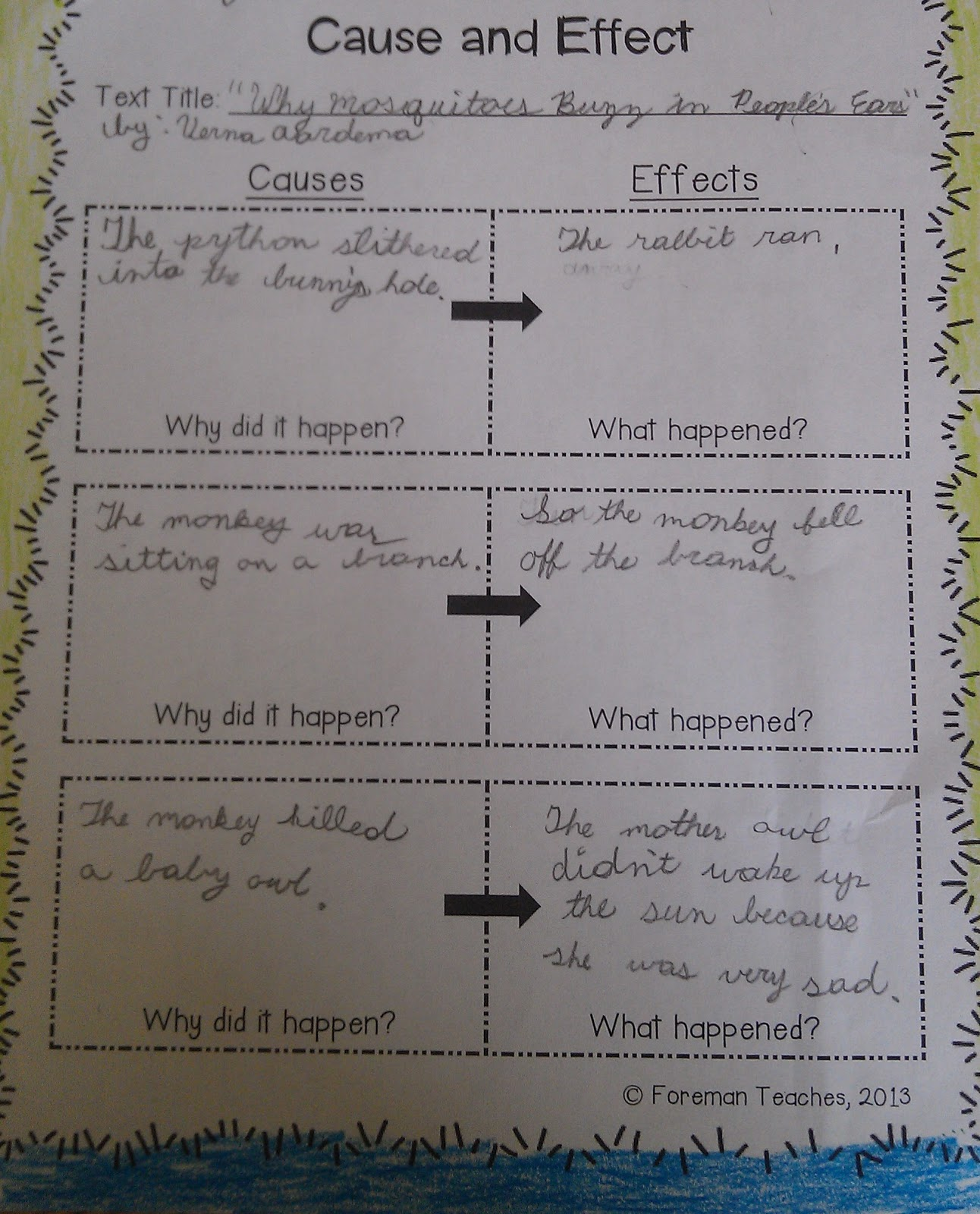 Cause and effect exercises for grade 10