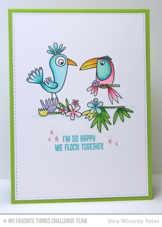Flock Together Card by Vera Wirianta Yates featuring the Birds of Paradise stamp set and Blueprints 15 Die-namics #mftstamps