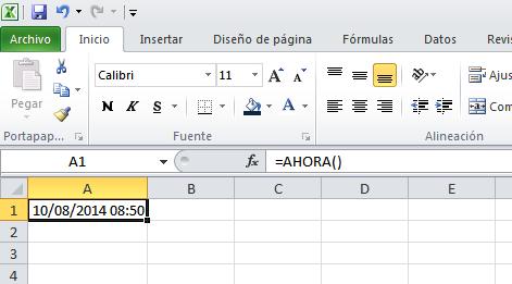 Función AHORA() en Excel