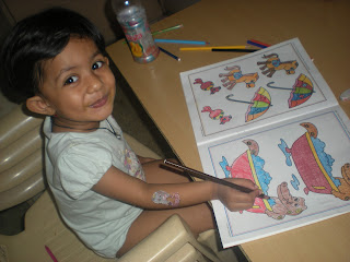 aishi doing coloring