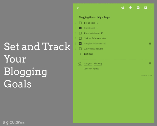 Plan Blogging set goals Google keep productivity tips