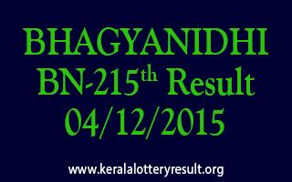 BHAGYANIDHI BN 215 Lottery Result 04-12-2015