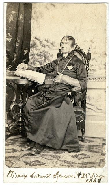 Bp Ludwik Łętowski (1786-1868), w roku 1818 proboszcz w Końskich. Fot. z lat 1860-tych z kolekcji Adama hr. Tarnowskiego.