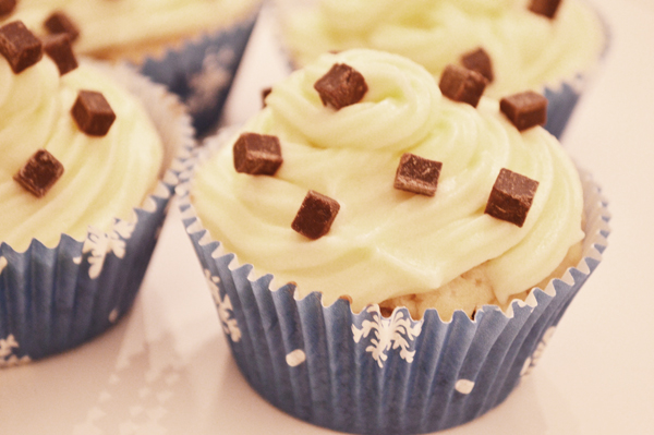 winter themed chocolate chip cupcakes
