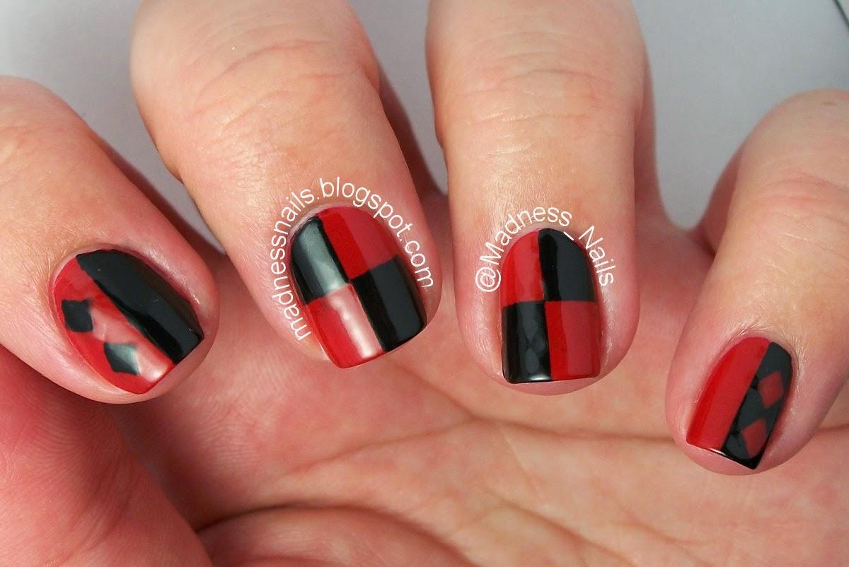 Madness Nails 31dc2014 Red Nails Aka Harley Quinn Nails