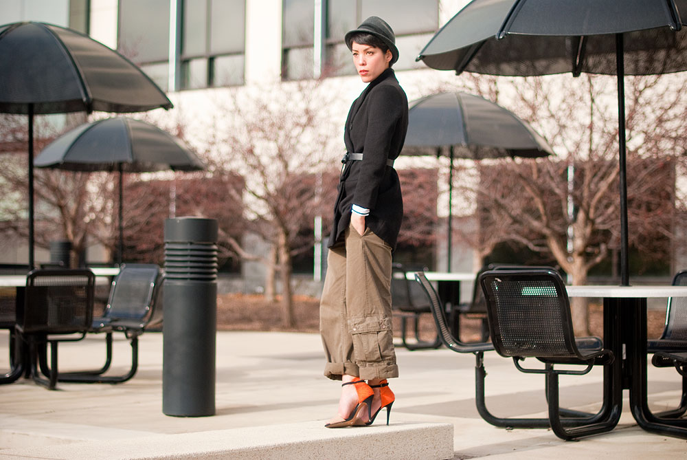 Minneapolis fashion blog by Shannon Licari Walling. Wearing Forever 21 hat and belt, Romwe.com coat, super old thrift cargo pants, Zara heel.