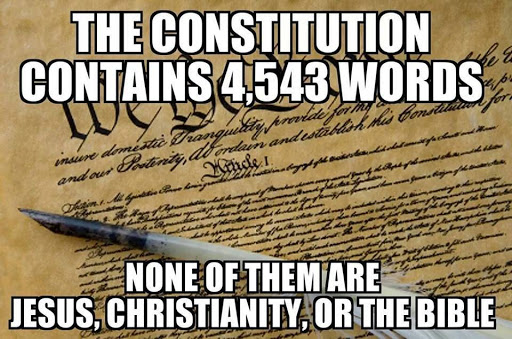 The Constitution contains 4,543 words. None of them are Jesus, Christiantiy, or the Bible.