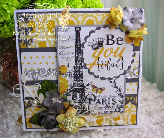 front panel easel card with petaloo and authentique papers
