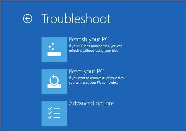 how to refresh or rest windows 8