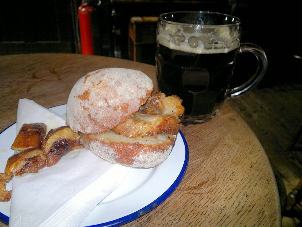 Roast pork sandwich and pint of stout