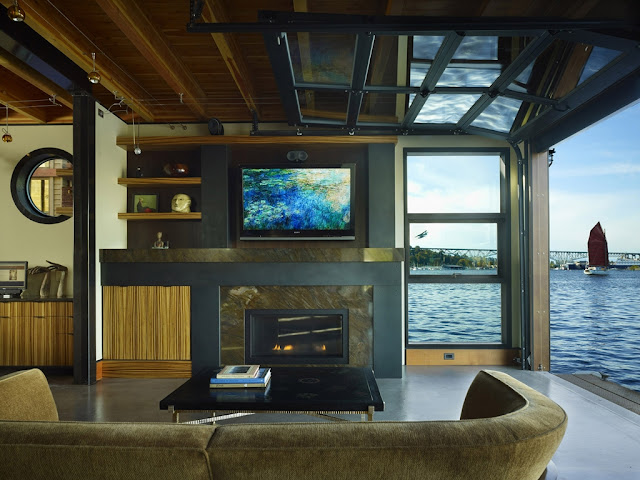 Photo of living room interiors in the floating home