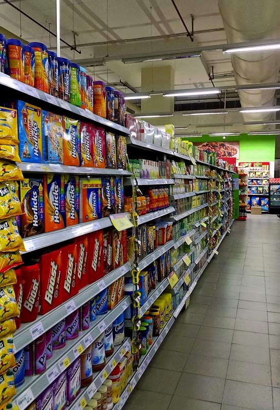 Stocked shelves at a supermarket