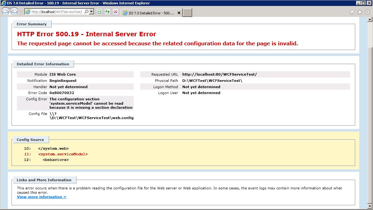 Error internet information services 7 0 error summary http error