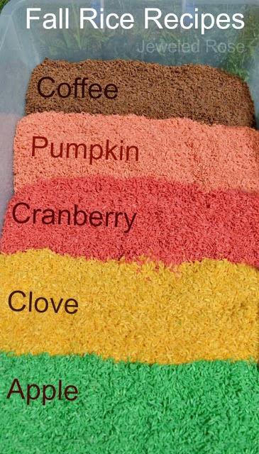 Fall Scented Rice for Sensory Play #fall #preschool #sensory